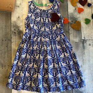Mini Boden Linen Blend Bird Dress
